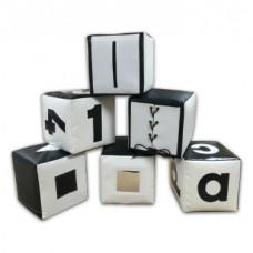 Набор Цифры из 6 дидактических развивающих мягких игровых модулей-кубиков для дома, детского сада, черно-белые