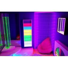 Сенсорная комната Радужная ночь: настенные и напольные покрытия, световые панели, проектор, кресла-мешки
