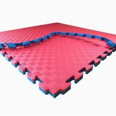 Коврик-мат Татами Ласточкин Хвост - покрытие для спортивных залов и игровых площадок, красно-синий 100х100х2.5см