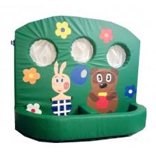 Мягкий развивающий детский игровой модульный тренажер тир с рисунками для квартиры Винни Пух 120х10х150 см