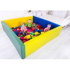 Мягкий развивающий игровой модульный сухой бассейн разборный для дома и улицы без шариков с матом 150х200х40см