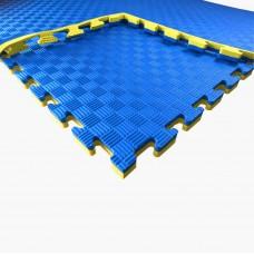 Коврик-мат Татами Ласточкин Хвост - покрытие для спортивных залов и игровых площадок, желто-синий 100х100х2.5см