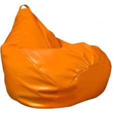 Бескаркасное Кресло-Груша Фреш со съемным чехлом из гипоаллергенной экокожи, с ручкой, цвет оранж 90х60 см