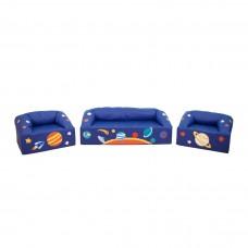 Мягкий модульный игровой комплект мебели с рисунком для детей из 3-х элементов с диваном и креслами Вселенная