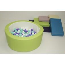 Дидактический развивающий игровой модульный набор с горкой и сухим бассейном, 6 элементов для детей от 1 года