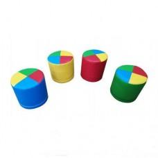Набор Бескаркасных Пуфиков Радуга из 4 элементов со съемными чехлами, ткань Оксфорд, наполнитель ППУ 30х20 см