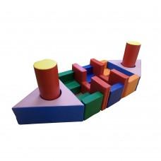 Мягкий игровой Модуль-трансформер Пароходик-2 для детей от 1 года для дома и игровых центров, 12 элементов