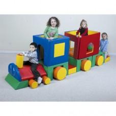 Мягкий развивающий большой игровой модуль-трансформер для детей от 1 года разборный Паровозик 270х100х100 см