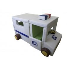 Мягкий развивающий игровой модуль-трансформер для детей от 1 года разборный Полицейская машина 165х100х110 см