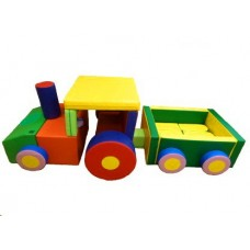 Детский Спортивно-игровой разборный Модуль-трансформер Трактор с прицепом из 27 элементов со съемным чехлом