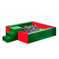 Мягкий Игровой модульный сухой Бассейн для детей с горкой разборный для дома и улицы без шариков 150х150х40 см