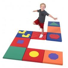 Детский игровой набор Сенсорных матов Квадратики из 9 модулей для отдыха и развития детей от 8 мес. 50х50х5 см