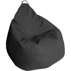 Бескаркасное Кресло-Груша Практик со съемным чехлом из кожзаменителя, с ручкой, цвет темно-серый 90х60 см