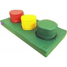 Детский игровой Мат-сортер Светофор с 3 мягкими цилиндрами для развивающих центров, детских садов 100х40х10 см
