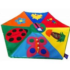 Игровой дидактический коврик для детей в форме многогранника с аппликациями и заданиями Полянка 100х100 см