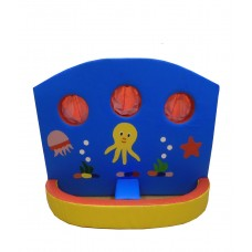 Мягкий развивающий детский игровой модульный тренажер тир с рисунками для квартиры, сада Море 120х10х150 см