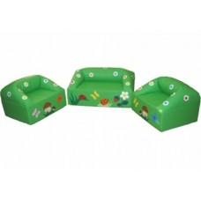Мягкий модульный игровой комплект мебели  с рисунком для детей из 3-х элементов с диваном и креслами В лесу
