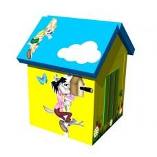 Мягкий игровой объемный Домик Ну, погоди с аппликациями разборный для дома, детского сада 100х100х140 см