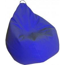 Бескаркасное Кресло-Груша Практик со съемным чехлом из кожзаменителя, с ручкой для переноски, синий 90х60 см