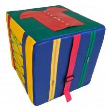 Игровой дидактический модуль Куб для детей от 1 года с обучающими элементами для дома, детского сада 40х40 см