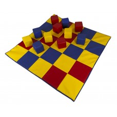 Детский игровой Мат-Коврик Кубики для развивающих занятий, 10 кубиков 10х10см со съемными чехлами 120х120х3 см