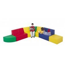 Мягкий уголок для детей от 4 лет из 7 модулей с диван, пуфом, углом и креслом разборный для дома 270х270х60 см