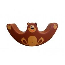 Детская мягкая спортивная игровая Качалка с аппликацией для дома, детского сада, школы Медведь 120х30х60 см