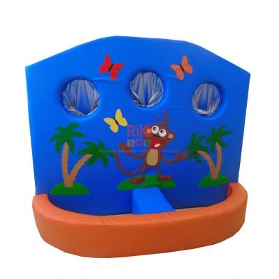Мягкий развивающий детский игровой модульный тренажер тир с рисунками для квартиры, сада Африка 120х10х150 см