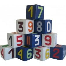Набор дидактических развивающих мягкий игровых модулей 10 кубиков для детей от 1 года Цифры разноцветные