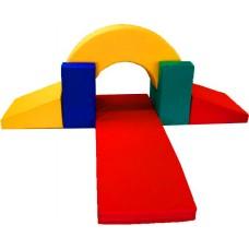 Детский мягкий спортивно-игровой комплекс-тренажер с двумя горками с 7 элементами из квартиры, дома или дачи