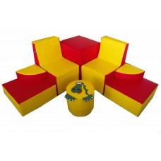 Мягкий модульный комплект детской игровой мебели из 8 элементов для квартиры разборный Динозавр 150х150х60 см