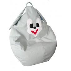 Бескаркасное Кресло-мешок Зайка со съемным чехлом из ткани, ручкой для переноски, пенополистирол 90х60 см