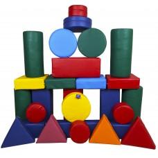 Игровой Мягкий модульный Конструктор Оптима из 28 геометрических фигур для детей от 1 года разборный для дома