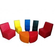 Модульный мягкий комплект игровой мебели из 7 элементов со стульями и столами кожзам Полукруг 180х120х60 см
