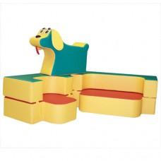 Мягкий игровой комплект из дивана и кресла с игрушкой для детей от 1 года для квартиры, дачи или школы Песик