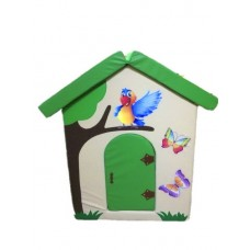 Мягкий игровой объемный Домик Попугайчик с аппликациями разборный из матов для дома, детсада 100х100х140 см