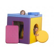 Объемный детский игровой тренажер куб-домик для изучения геометрических фигур для дома Гулливерчик 120х120 см