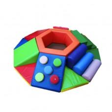 Мягкий спортивно-игровой тренажер с сухим бассейном для детей от 1 года для квартиры Царь горы 240х240 см