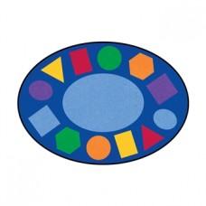 Детский учебный Мат Геометрия овальный для развивающих занятий с детьми от 3 лет, съемный чехол 200х200х2 см