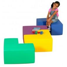 Детский разноцветный игровой модульные комплект сидения-столик разборный из 4-х фигур Геометрия 120х120х30 см