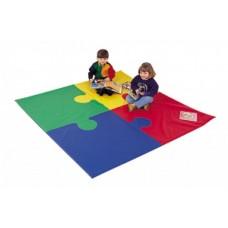 Игровой спортивный складной Мат-коврик Пазл из 4 частей для развивающих занятий со съемным чехлом 100х100х5 см