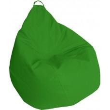Бескаркасное Кресло-Груша Практик со съемным чехлом из кожзаменителя, с ручкой для переноски, зеленый 90х60 см
