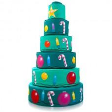 Мягкий дидактический игровой модуль Новогодняя елка для детей от 1 года для квартиры, дома, разборный 75х125см