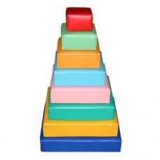 Игровой Мягкий модульный Конструктор Пирамидка для детей от 1 года, 8 геометрических фигур разборный для дома