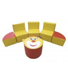 Игровой Комплект мягкой детской мебели Клоун из 6 элементов для детей от 4 лет, с креслом, пуфом и секторами