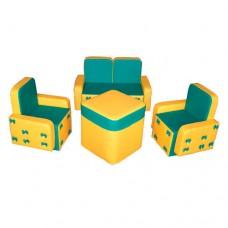 Мягкий игровой модульный набор из дивана и кресел с рисунком для детей от 1 года для квартиры Бантик со столом