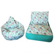 Комплект Бескаркасной мебели Лежак и Груша со съемными чехлами из ткани Оксфорд, наполнитель пенополистирол