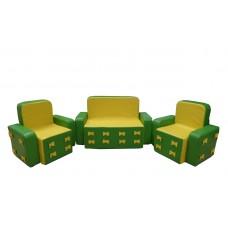 Мягкий игровой модульный набор из дивана и кресел с рисунком для детей от 1 года для квартиры, дома Бантик