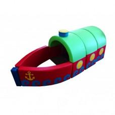 Детский Спортивно-игровой разборный Модуль-трансформер Пароходик: конструктор из 7 элементов со съемным чехлом
