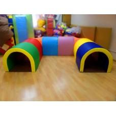 Мягкий спортивно игровой тренажер тоннель для детей от 1 года для квартиры, дачи или дома 8 секций Подкова